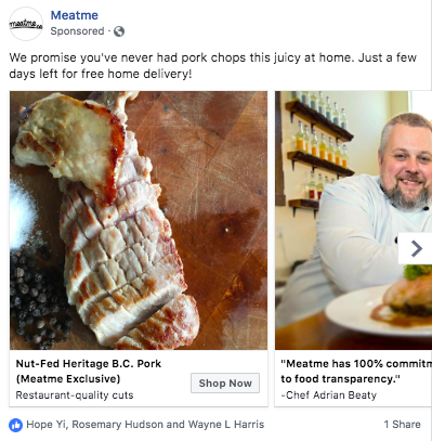 meatme facebook campaign