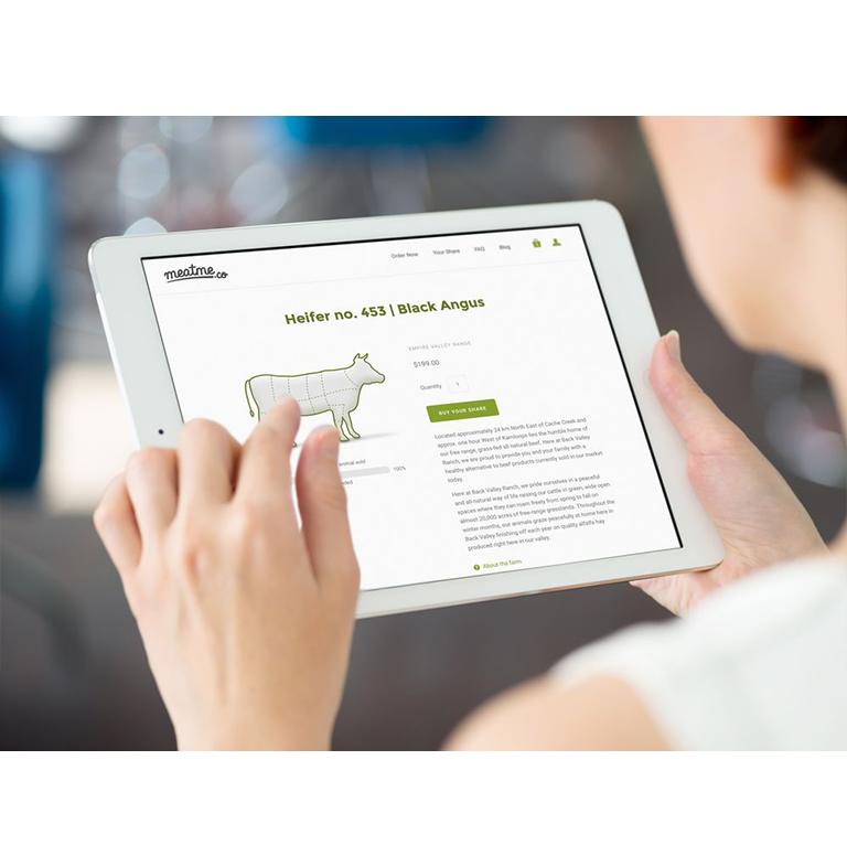 meatme.ca's website on an iPad.