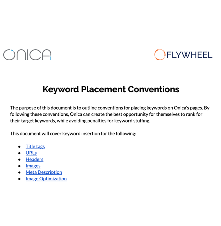 A four page document on best strategies to implement keyword placements.