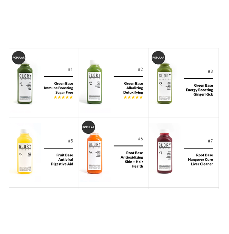 Cold-Pressed Juice Section Post-Launch with show tags and customer five-star reviews.
